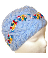 Child's blue hand knit hat with multi-color cable - $24.50