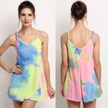 Women's Sexy O-Neck Summer Beach Multi-color Sleeveless Strap Dress - $24.48