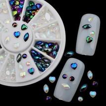 Gam-Belle® White Black Glitter Nail Rhinestone Pearls Wheel Round Heart ... - $2.47