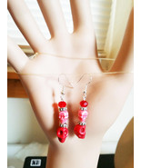 red turquoise sugar skulls earrings drop dangle goth punk pirate Day Of ... - $5.50