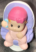 Fisher Price Little People Baby Pink Hat In Purple Chair Rare - $14.85