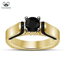 Round Cut Black CZ Yellow Gold Plated 925 Sterling Silver Women's Weddin... - ₨5,945.00 INR