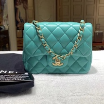 RARE AUTH NEW CHANEL 2019 TURQUOISE LAMBSKIN SQUARE  MINI FLAP BAG MATTE... - $3,999.99