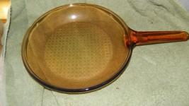 Pyrex Visions Amber 9&1/4 Inch Frying Pan Waffle Bottom France Free Us Ship - $28.04
