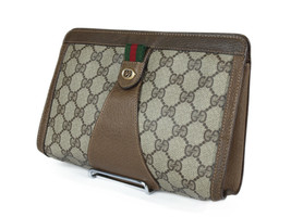 GUCCI GG Pattern PVC Canvas Leather Browns Clutch Bag GP2184 - $219.00