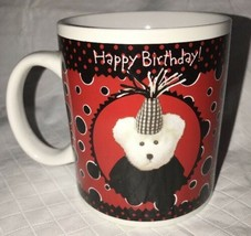 Bearware Pottery Works Boyds Bear Happy Birthday Red Black Cup Ceramic Mug 2003 - $9.90