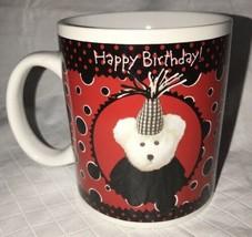 Bearware Pottery Works Boyds Bear Happy Birthday Red Black Cup Ceramic Mug 2003 - $10.00