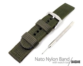 Triple layer 2-piece nylon G10 nato heavy duty watch straps - Army Green - $57.04 CAD
