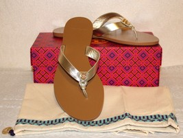Tory Burch Thora Manon Thong Flat Sandals Size 7.5 Spark Gold Metallic Leather - $108.89