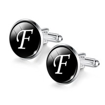 JIAYIQI Cool F-Letter gem Cufflinks for Men Perfect Wedding Groomsmans Gift - $12.66