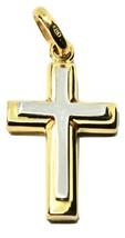 Anhänger Überqueren aus Weißgold und Gelb 18K 750 Kruzifix Schmuckstück ... - $276.99