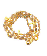 3-4 MM Natural Labradorite With Cross Charms Gold Plated Rosary Chain Ne... - $22.57+