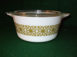 "Vintage Pyrex Covered Casserole Dish ""Verde""/""Square Flowers"" #474-B - $23.00"