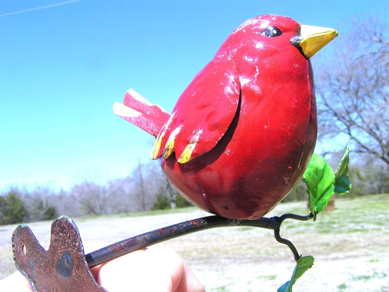 Metal art Red bird Cardinal on branch with mounting bracket