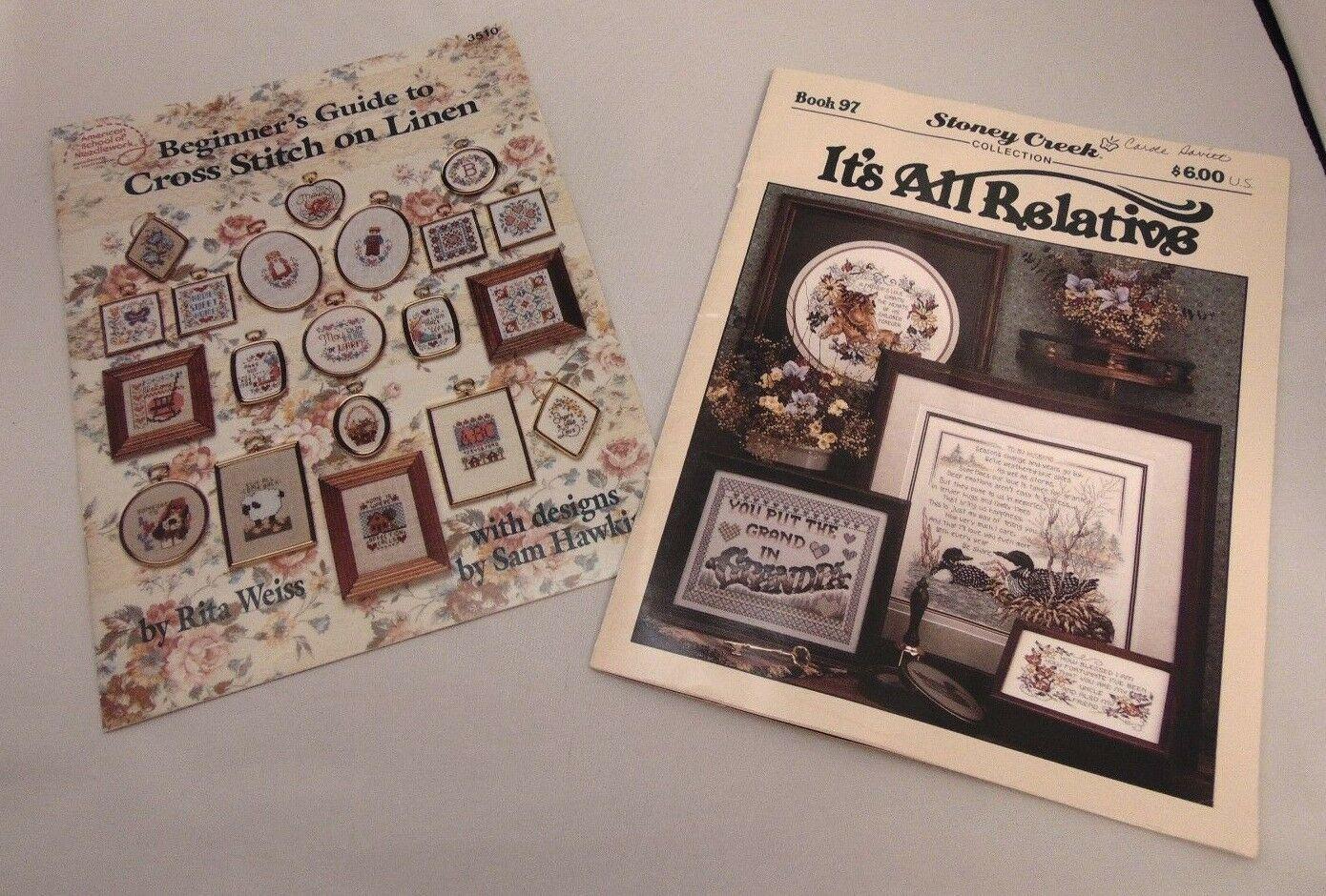 LOT of 2 Cross Stitch Pattern Books, Cross Stitch on Linen, It's All Relative