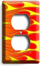 HOT ROD RED YELLOW ORANGE FLAMES DUPLEX OUTLET  WALL PLATE COVER GARAGE ... - $9.99