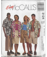 McCall's 3124 OOP Unisex Shirt & Shorts Sewing ... - $3.95