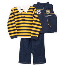Baby Togs Boys 3 Piece Navy Puffy Vest Striped Polo Shirt Jeans Set  - $31.00