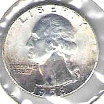 Choice Brilliant uncirculated 1958 P Washington Silver Quart - $12.00