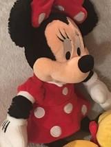 "Walt Disney World Large 20"" Minnie Mouse Fuzzy Plush Long Pile Red Polka... - $24.00"