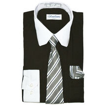 Berlioni Italy Boys Two Toned Kids Toddlers Dress Shirt With Tie & Hanky Set image 7