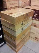 LONG SIDED FLAT HALF SIZE FRENCH WOODEN WINE CRATE BOX -HAMPER STORAGE P... - $18.29