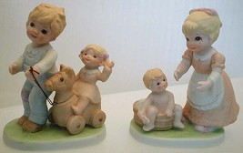 Set of Homco Porcelain Figurines 1450 Tending the Young Ones Brother Sis... - $24.90