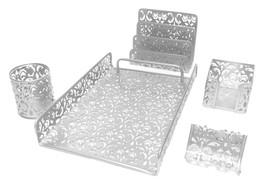 Majestic Goods 5 Pieces Silver Flower Designed Punched Metal Mesh Desk Set - €31,28 EUR