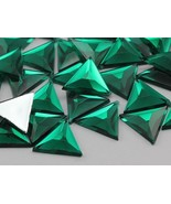 13mm Green Emerald .MD Flat Back Triangle Acrylic Gemstones - 50 Pieces - $4.83