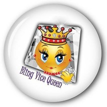 BLING VICE QUEEN SMILEY FACE W/ CROWN - RED HAT PURSE MIRROR W/ ORGANZA ... - $7.91