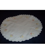 "Hand Embroidered Doily 23"" Diameter NICE! - $7.99"