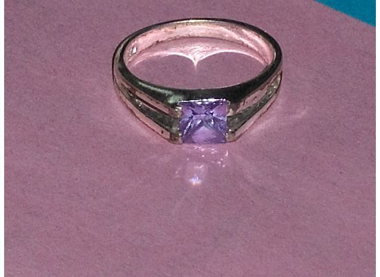 Sterling Silver Simulated Amethyst Purple CZ Stone Ring 8-1/2