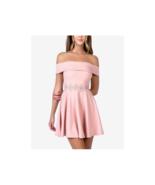 B Darlin Juniors' Off-The-Shoulder Sleeveless A-Line Dress (Pink, 13-14) - $28.70