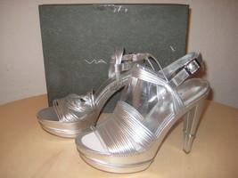 Via Spiga New Womens Aida Silver Leather Platform Heels 9 M Shoes Display Model - $88.11