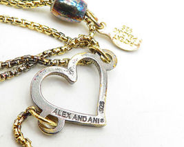 ALEX & ANI 925 Silver - Petite Gold Plated Open Love Heart Chain Bracelet- B4204 image 3