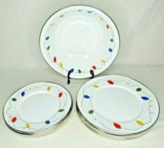 Enamelware Christmas Lights Dish Golden Rabbit II 1999 Bowl Plates Jean ... - $19.79+