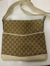 GUCCI Canvas Shoulder Bag GG Logo Brown Ivory Leather Women's From Japan... - $443.00