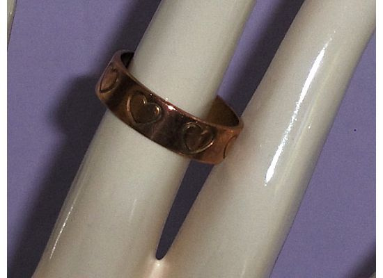 Copper Heart Band Ring Size 8