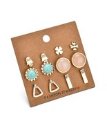 BAHYHAQ -  6 Pairs  Acrylic Stone Geometric Palm Triangle Earrings Set - $4.00