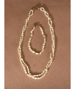 Freshwater Pearl Necklace and Bracelet with Gol... - $10.00