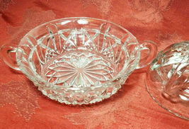 Vintage Clear Pressed Glass Clear Covered Candy Dish With Handles image 3