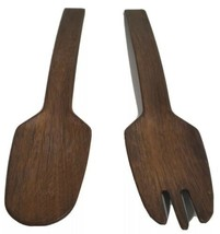 Wooden Salad Serving Fork and Spoon 11 Inch Long Walnut Wood Handmade - $22.04