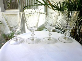 Set of 4 Elegant 1940's Clear Crystal Water Glasses Wheat Cut High Quality - $38.60