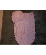 BABY GIRL PINK AND WHITE PAPOOSE COCOON PHOTO PROP WITH MATCHING HAT - $20.00