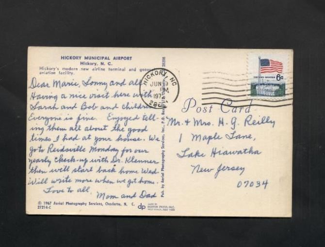 Vintage 1967 Postcard Hickory NC Municipal Airport Airplanes 1960s