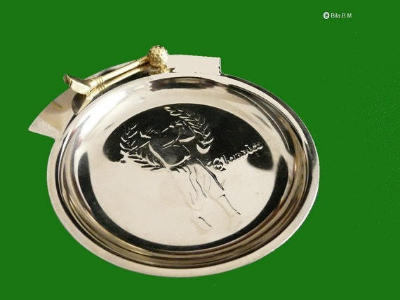 "GOLF ""Classics"" Silver tone metal TRINKET TRAY - 4 5/8 inches - FREE SHIPPING"