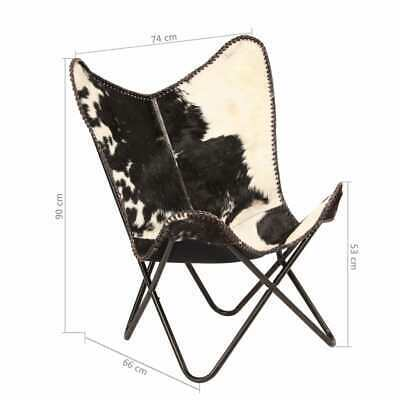vidaXL Genuine Goat Leather Butterfly Chair Black White Armchair Furniture image 12