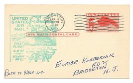 1949 FFC AM 97 Bridgeton NJ Segment No 2 UXC1 Aiir Mail Postal Card 4c E... - $4.99