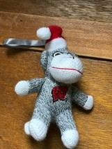 Small University of Wisconsin Gray & White Stuffed Sock Monkey w Santa Hat Chris image 2