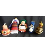 Vintage lot of 5 Dolls Doll Christmas Ornaments - $11.42
